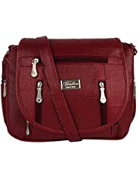 GulshanCollection Women Evening/Party, Casual PU Sling Bag With Stylish Three Zipper Flap (Maroon)