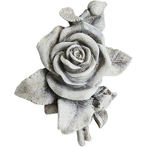 com-four® Deko Rose in Steinoptik, als Grabschmuck, ca. 13 x 12 x 4,5 cm (01 Stück - Rose)