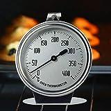 Desirabely Termometro per Forno Forno a Gas Forno Elettrico Rotondo Visualizza letture Vetro ad Alta Resistenza Termica Misura Fino a 400 Gradi Corpo in Acciaio Inossidabile Resistente