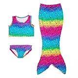 Le SSara Le ragazze 3pcs Mermaid Tail Costume da Bagno mare-domestica Del Bikini Swimwear Mermaid (6-7 anni, B-arcobaleno)