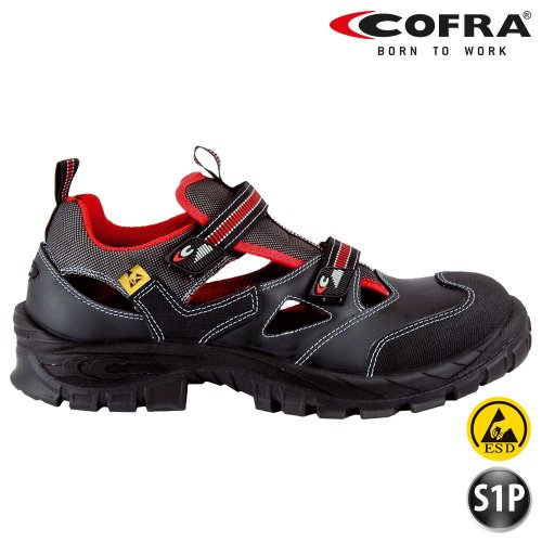 Cofra 13050-000 - Calzature di sicurezza estive, tipo sandalo, modello Guttorm S1 P Asgard, certificazione BGR191, colore: nero, nero, 13050-000