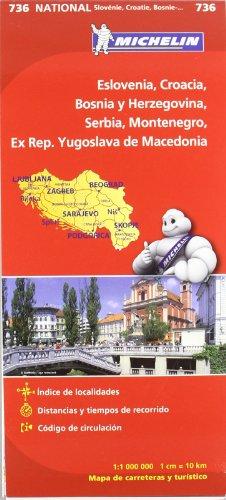 Mapa National Eslovenia, Croacia, Bosnia y Herzegovina, Serbia, Montenegro, Ex Rep. Yugoslava de Macedonia (Mapas National Michelin) por Vv.Aa