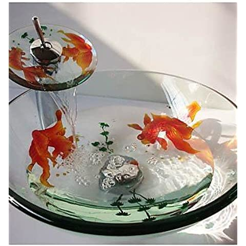 Luxury Classic Goldfish rotondo in vetro temperato nave lavandino con rubinetto a cascata ,Pop - Scarico e anello di montaggio