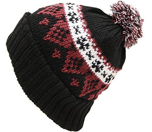 EXAS Co.,Ltd. EXAS Nordic Pattern Knit Cap Beanie Watch With Pom Pom BlackWineRed