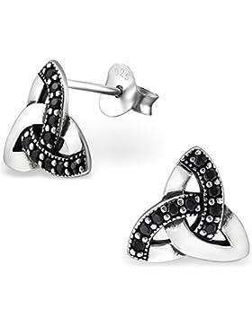 EYS JEWELRY® Damen-Ohrringe Keltischer Dreiecks-Knoten Trinity 10 x 11 mm Zirkonia 925 Sterling Silber oxidiert...