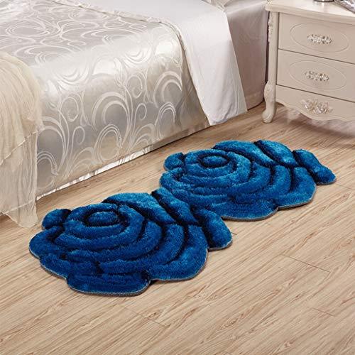 Freude Teppiche Rose (YUER Einfache Moderne 3D-Rosen, Hochzeit Wohnzimmer Teppich Schlafzimmer Nachttisch, in die Veranda Decke Super dünne Seidenblume Rose rote Doppelblume 0,7 * 1,4 m Verschlüsselung Verdickung)