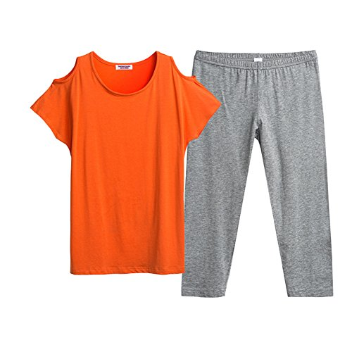Sommer Damen Pyjama/Glatte Kurzarm Hose/Dünne Damen Anzug Kleidung B