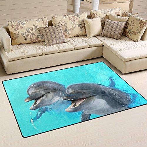 coosun ríe delfines área alfombra alfombra alfombra de suelo antideslizante Doormats salón o dormitorio 31x 20cm, tela, multicolor, 60 x 39 inch