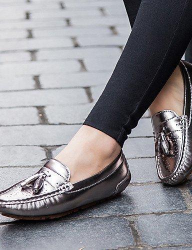 ShangYi gyht Scarpe Donna-Mocassini-Ufficio e lavoro / Formale / Casual / Sportivo / Serata e festa-Comoda-Piatto-Nappa Leather-Rosso / Argento Silver