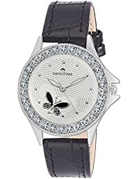 SWISSTONE VOGLR501-WHT-BLK Black Leather Strap Analog Wrist Watch For Women/Girls