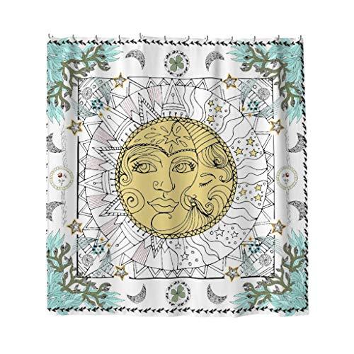 Stern Sonne Mond Duschvorhänge Anti-Schimmel Anti-Bakteriell Duschvorhang für Badezimmer Wasserabweisend Waschbar Blickdicht aus Stoff mit Duschvorhangringe white 200x200cm - Sterne Mond Und Badezimmer Sonne