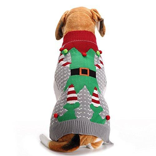 NACOCO Weihnachten Hund Pullover Ugly Elf Pet Jumper Clown Urlaub und Party für Hunde und Katzen, S, Grau