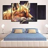 QIFUHUA Quadro Home Decor Quadro Quadro 5 Pannello Animale Volpe su Tela Poster per Soggiorno Moderna HD Stampa Immagini Astratte, Telaio, 40x60 40x80 40x100cm