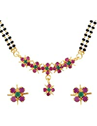 Archi Collection Gold Plated Traditional Mangalsutra Pendant With Chain And Earrings For Women