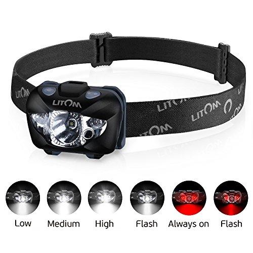 Litom Kopflampe, LED Stirnlampen, LED Kopflampen, Kopfleuchten, led Stirnlampe, rotlicht Stirnlampe 5 Helligkeiten zu wahlen, wasserdicht, leicht und bequem, Perfekt fürs Radfahren Camping, Wandern