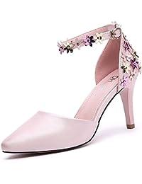 RUGAI-UE Zapatos de Tacón Alto solo secuela sandalias impermeables,blanca,37