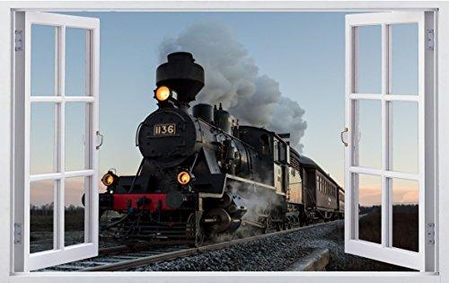 DesFoli Dampflok Lok Zug 3D Look Wandtattoo 70 x 115 cm Wanddurchbruch Wandbild Sticker Aufkleber F497