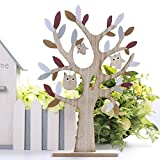 Valery Madelyn 38cm Easter Decoration Tree with Cute Owl Ornaments for Home Table Top Party Decoration, Dark Red and Grey