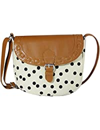 Mabel Tansey Cream Convas Sling Bag With PU Flap