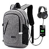 ZZRS Laptop-Rucksack, Reise-Rucksack mit USB-Ladeanschluss, Wasserdicht für 15.6 Zoll Anti-Diebstahl-Laptop für Schwarze Männer und Frauen