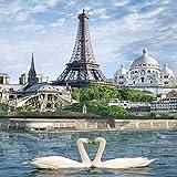Worryd Papel tapiz fotográfico Torre Eiffel París Fresco Pasillo Entrada Decoración Pintura Restaurante Cafetería Papel tapiz mural, 350X245 CM (137.8 por 96.5 pulg.)
