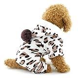 Ranphy Petit Chien Flanelle Pyjama Léopard tenues en velours doux Pyjama Chien Chihuahua à capuche Four-leg JumpSuit Winter Yorkshire Vêtements