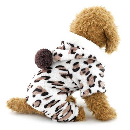 ranphy Kleiner Hund Katze Puppy Flanell Schlafanzüge Leopard Outfits Pet Overalls Weiche Kleidung Samt Hund PJ Hoodie Vierbein Jumpsuit