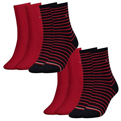 Tommy Hilfiger Damen Socken Small Stripe Casual Socken 4er Pack, Größe:35-38, Farbe:Red/Navy (219)