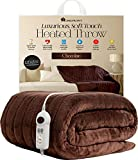 Homefront Electric Heated Throw / Over Blanket in Chocolate (160 x 120 Centimetres) Easy To Use Digital Control - Machine Washable - Ultra Soft, Cosy Finish