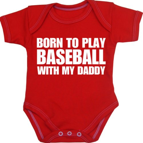 BabyPrem Baby Body Strampler 'Born to Play Baseball with My Daddy' Kleidung ROT 56-62cm -