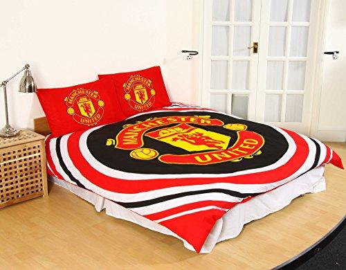 Manchester United FC - Ensemble de lit (Lit Double) (Rouge/Blanc/doré)