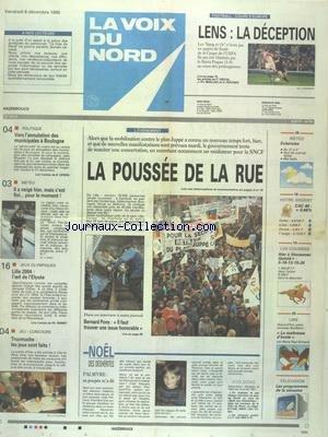 VOIX DU NORD (LA) [No 16012] du 08/12/1995 - LES CONFLITS SOCIAUX - VERS L'ANNULATION DES MUNICIPALES A BOULOGNE - LES SPORTS - JO LILLE 2004 - FOOT par Collectif