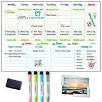 PeGee Magnetic Weekly Planner - Reusable A3 Task Organising Whiteboard with Tick Boxes and Photo Frame - Colour Code Organisation with 4 Dry Erase Markers - To-Do Lists, Menu, Calendar, Workout Tracker