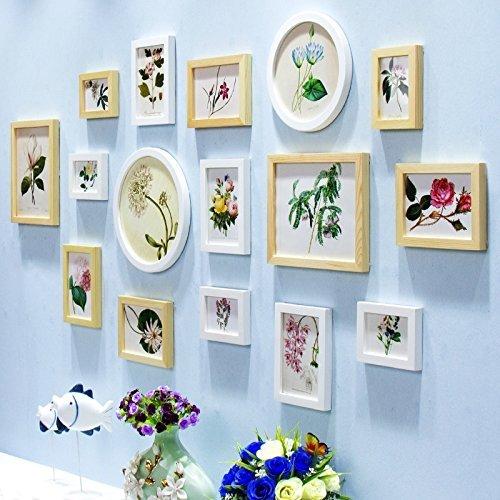 BJYG Fotowand Wohnzimmer Schlafzimmer Holz Fotowand Bilderrahmen Kombination von Rahmen Hängende Wanddekorationen Qualität (Farbe: A)