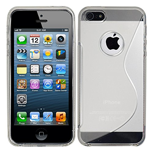 VComp-Shop® S-Line TPU Silikon Handy Schutzhülle für Apple iPhone 5/ 5S/ SE + Großer Eingabestift - TRANSPARENT TRANSPARENT