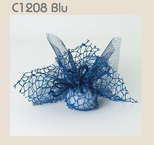 Confezione 30 pezzi, bomboniera sacchettino polycotton rete + velo organza + nastro autotirante, portaconfetti. (ck1768) (blu)