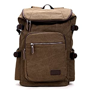 Eshow Men's Retro Canvas Travel Hiking Backpack, Brown