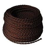 BarcelonaLED LV001-MO Cable Eléctrico Textil Trenzado Estilo Vintage Color Marrón Oscuro (PRECIO PACK OFERTA) (5 METROS)