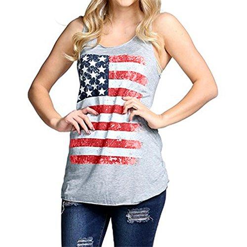LHWY Damen Sleeveless Tank Crop Tops Vest Bluse t-shirt Gray