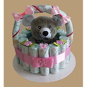 Windeltorte, Korb aus Windeln rosa, Geburt, Taufe, Geschenk für Mädchen, Baby Party, Pampers Gr.3, Kuscheltier-Maus