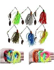 12pcs 50filamentos pesca señuelos falda Spinnerbaits Jig Head cebos de repuesto, colores mezclados, 12pcs spinnerbaits+12pcs skirt lure