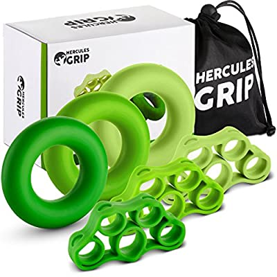 Hand Grip Strengthener Forearm Workout Kit - 6 Pack -Grip Ring & Finger Stretcher -3 Resistance Levels - Easy, Medium, Heavy - Increase Strength, Improve Dexterity & Speed Up Recovery -3Years Warranty from HerculesGrip