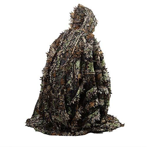 Heraihe Lebensechte 3D Blätter Camouflage Poncho Mantel Stealth Anzüge Outdoor Woodland CS Spiel Kleidung für Jagd Schießen Free People-poncho