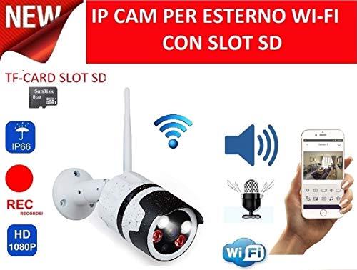 TELECAMERA SENZA FILI 720P 1.3MP IP Camera Esterno Wireless WIFI CAM LED IR IP66 REGISTRA AUDIO MICROFONO LED ARRAY