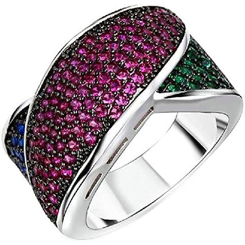 Fedi Nuziali Donna Placcato Oro Forma Irregolare Zirconia Cubicia Cz Tricolor Diamond Di (14k Diamante Tiffany Anello Setting)