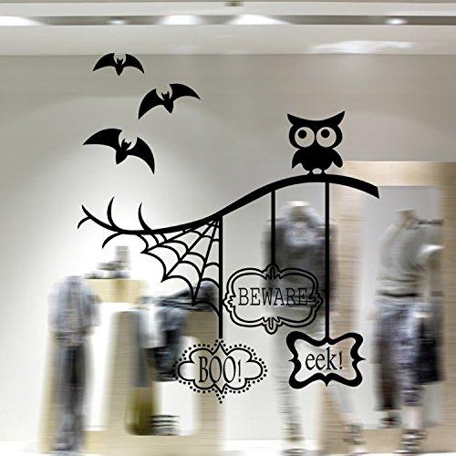 'F & H Halloween Wall Sticker clest schwarz Cartoon Fledermäuse Cobweb Eule Wandsticker Creative Tapeten Festival Home Dekoration Wandbild Art Aufkleber
