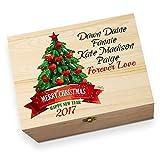 personalisierbar Weihnachtsbaum Banner bedruckt Christmas Eve Holz Geschenkbox