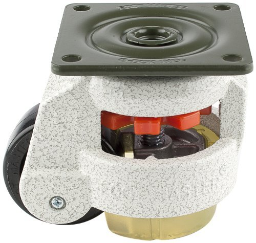 FOOTMASTER GD-60F-UP Nylon Wheel and Urethane Pad Leveling Caster, 550 lbs, Top Plate 2 7/8 x 2 7/8, Bolt Holes 2 9/32 x 2 9/32, Ivory Finish by FOOTMASTER (Top Plate Bolt)
