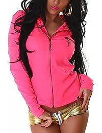 Veste à capuche pour femme avec boutons en lettre dorée schiebermotiven & or (taille :  convient du 34 au 40)