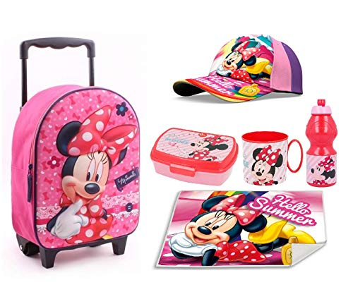Minnie mouse topolina set zainetto zaino trolley, cappello,box merrenda, borraccia ,tovaglia stofa,scuola